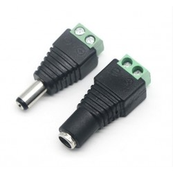 Pair (Male & Female) 2.1x5.5mm DC 12V EZ connector