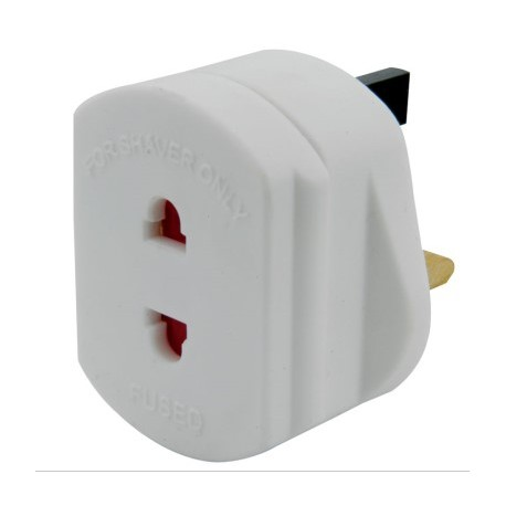 White Shaver Type Mains Adapter